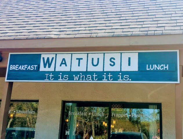 Sign outside Watusi Cafe HHI SC