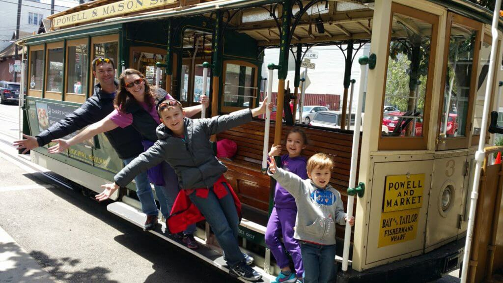 San Francisco Cable Cars with family