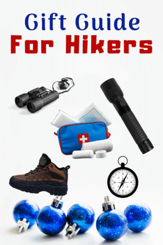 Hiking boots, tactical flashlight, first aid kit, compass, binoculars on white background