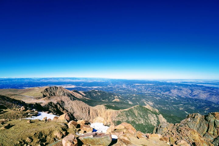 Royal Blue Skies overlooking Colorado from 14,115 feet elevation of Pike's Peak