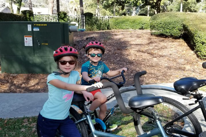 Two kids on bikes at Hilton Head Island