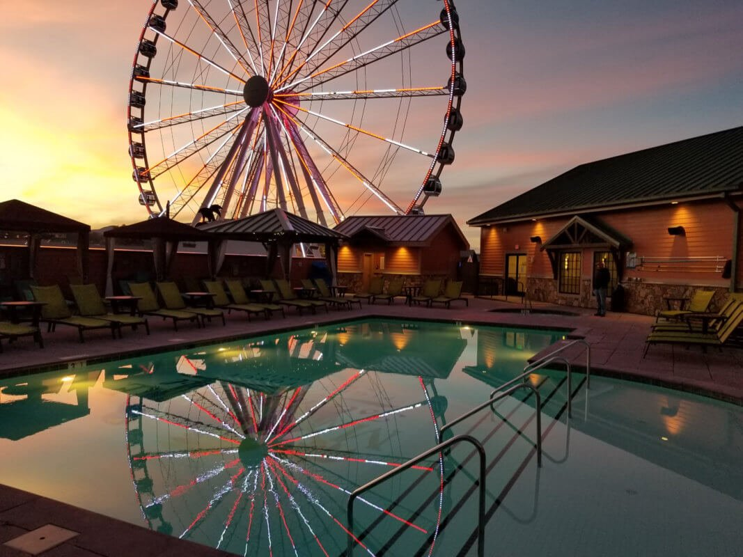 Pigeon Forge Island Wheel by the Pool