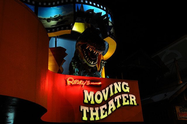 Night time image of Ripley's Moving Theatre