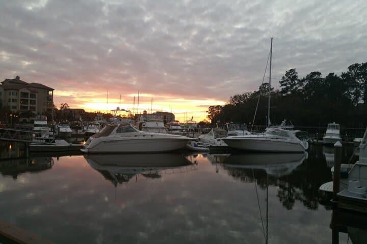Boats on water at Shelter Cove Marina