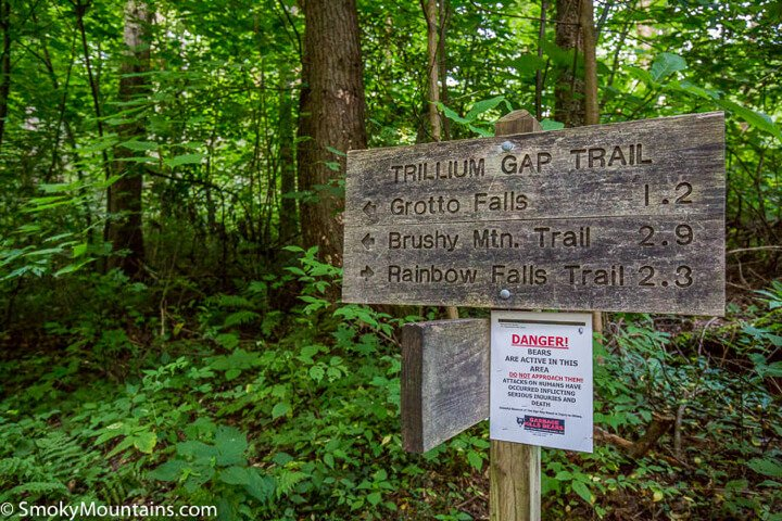 Trillium Gap Trail sign by Smokymountains.com
