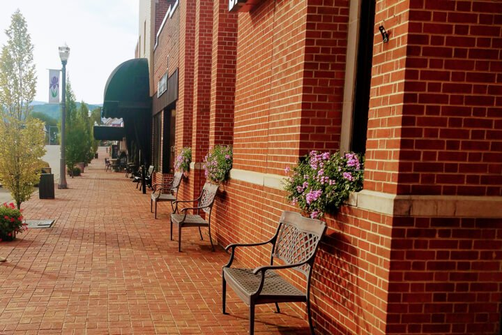 Downtown Mountain City brick sidewalks