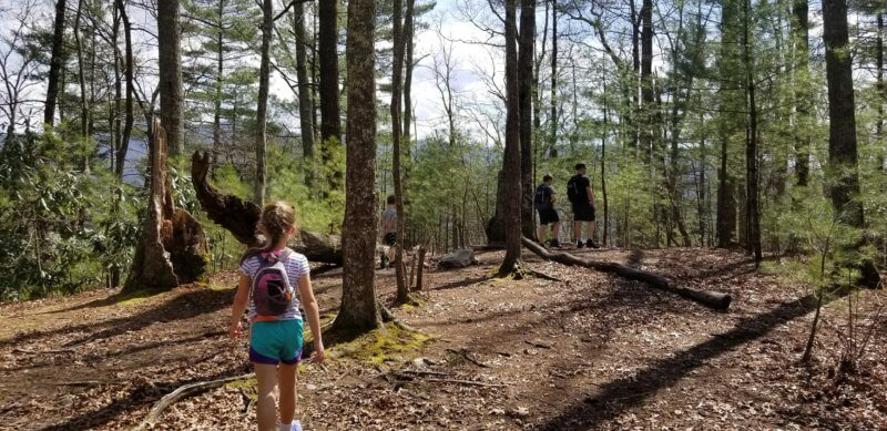 Family hiking on the Appalachian Trail