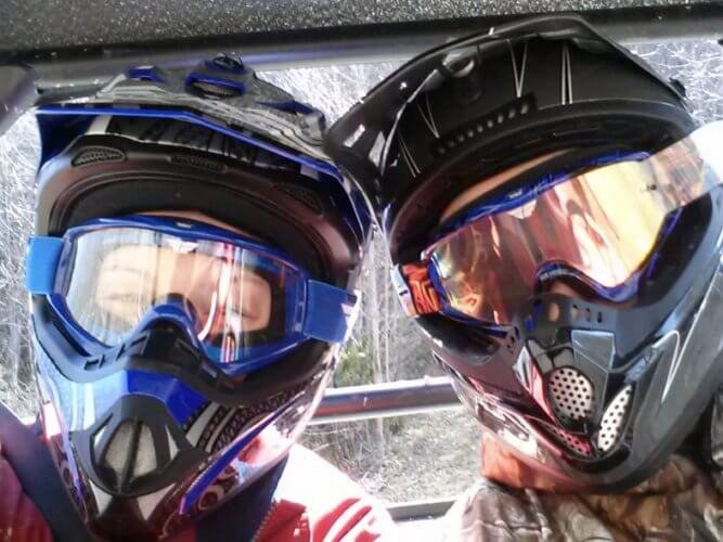 GMAX Helmet and Goggles on Couple in a SxS