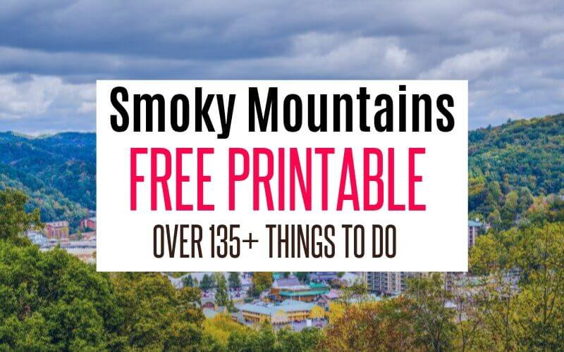 FREE PRINTABLE SMOKY MOUNTAINS CHECKLIST