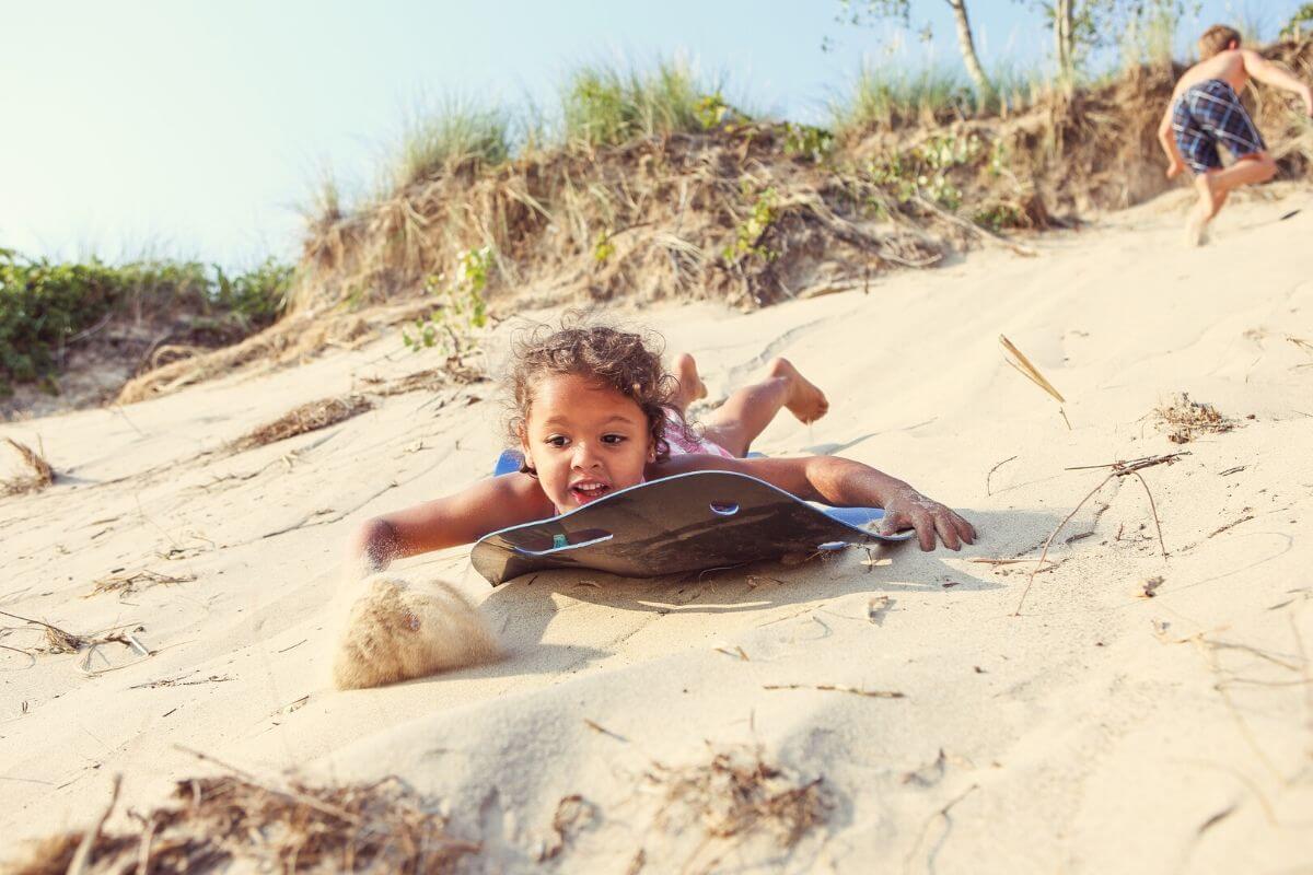 Sand Sledding Hermosa Beach Toddler