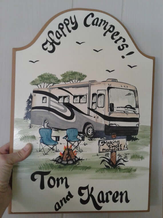"""Hand Painted"" Personalized Camper Signs"