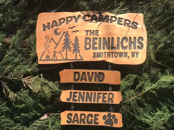 Custom Personalized Happy Campers Campsite Signs