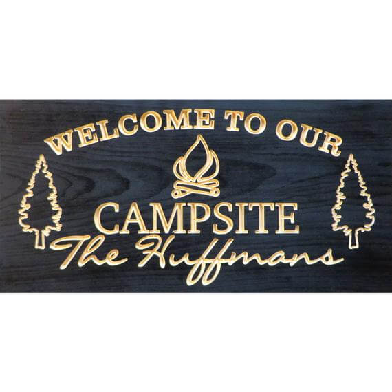 Carved Personalized Family Camping Sign