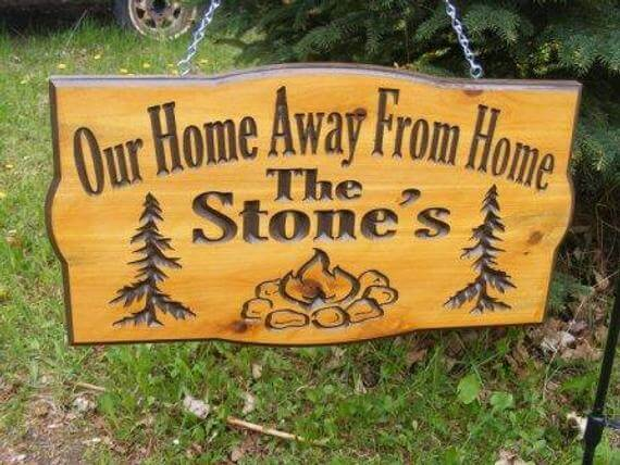 Welcome To Our Campsite Camping Chairs Cedar Carved Wood Sign