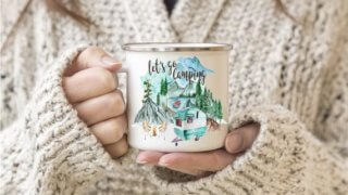 Let's Go Camping Vintage Camper Personalized Coffee Cup