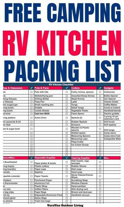 free rv kitchen checklist
