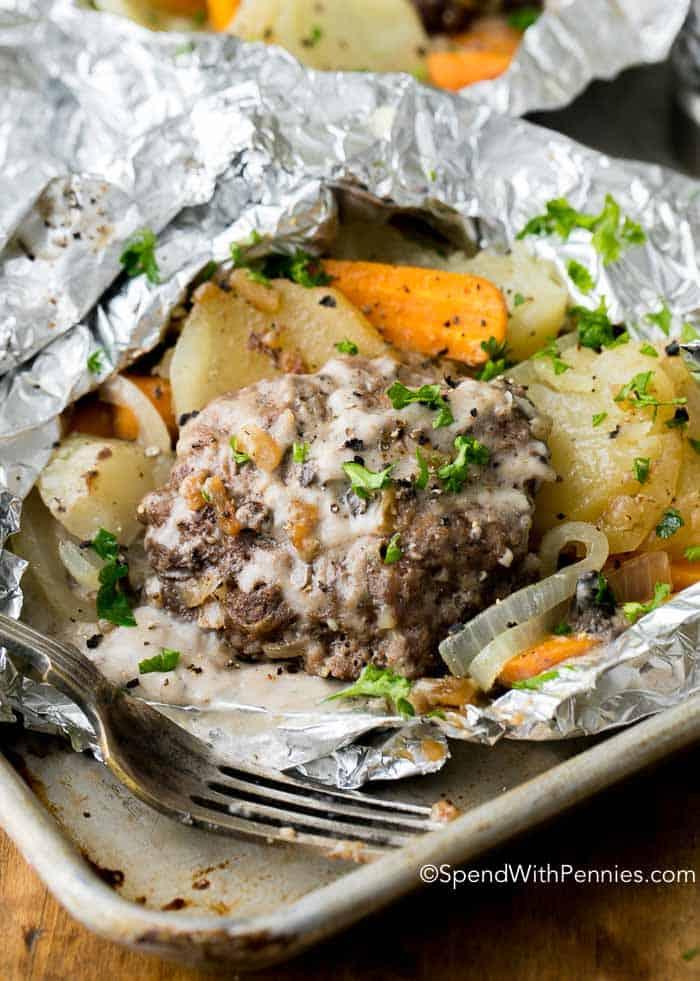 Hobo Dinner Foil Packets (Hamburger & Potato)