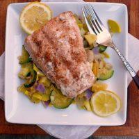 Lemon Grilled Salmon w/Rosemary Garlic Veggies