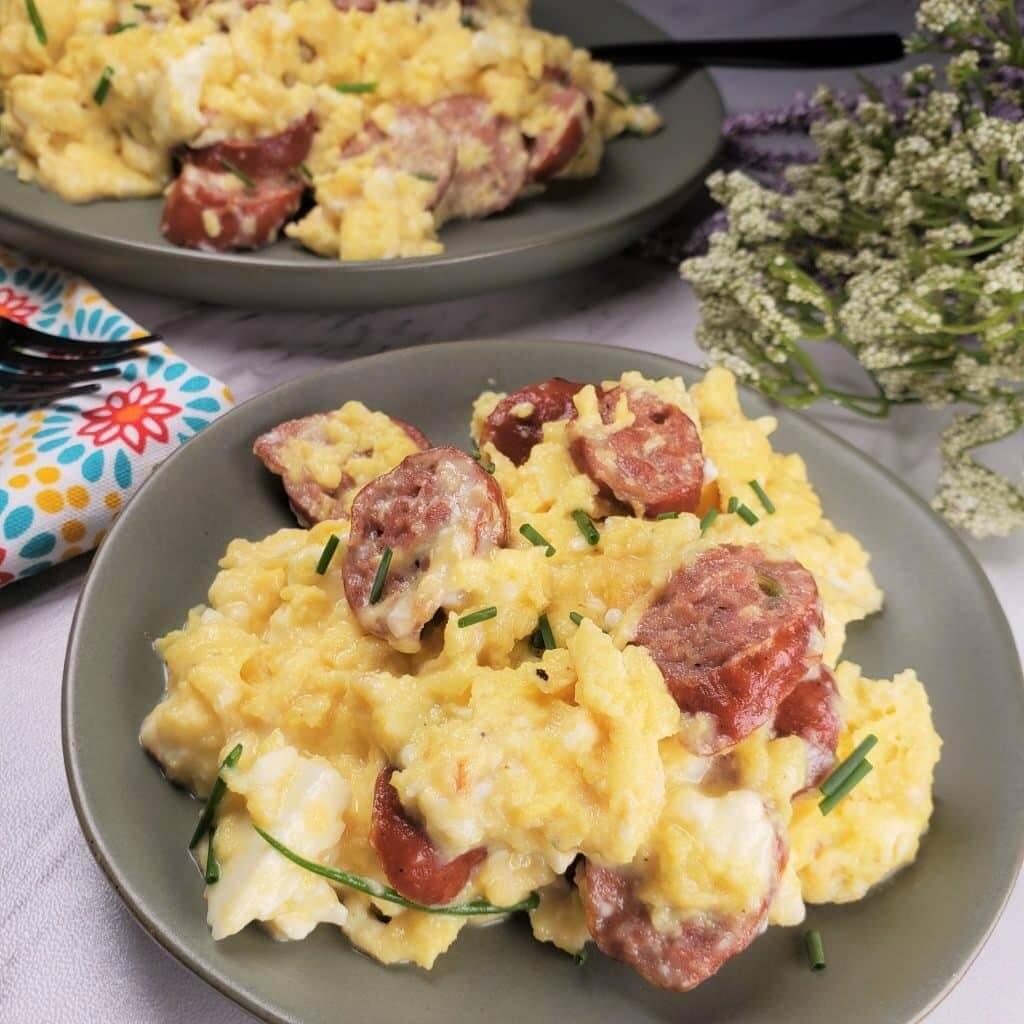 Low Carb Keto Sausage Feta Eggs Breakfast Scramble Skillet