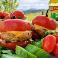 Grilled Turkey Burgers with Tomato Buns