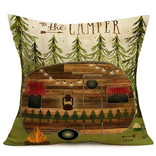 Throw Pillow Covers Vintage Wood Camper Pattern