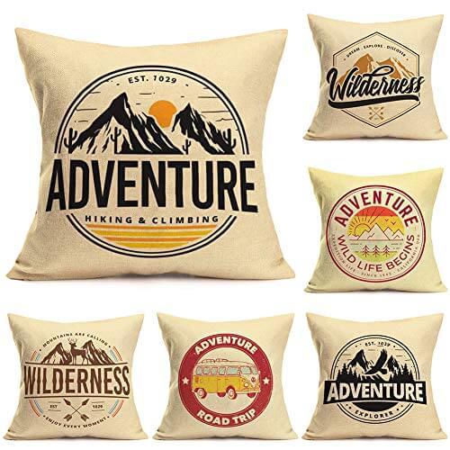 Vintage Wilderness Adventure Camping Throw Pillows