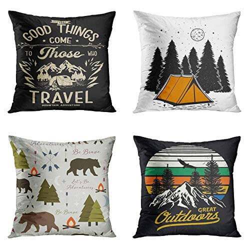 Throw Pillow Covers Camper on Mountain Camp Retro Adventure Badge