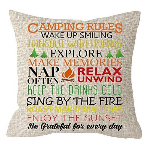 Funny Camping Rules Burlap Throw Pillow