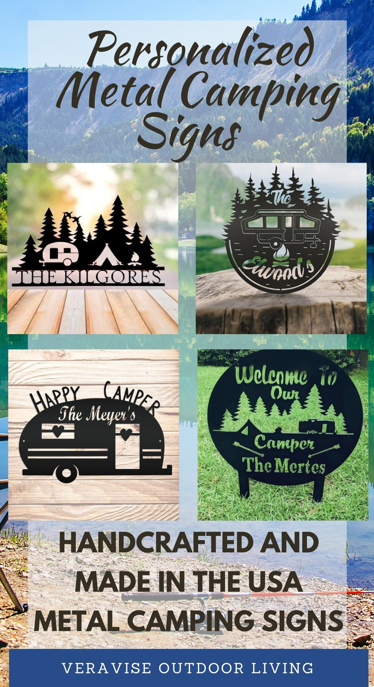 custom designed metal camping signs