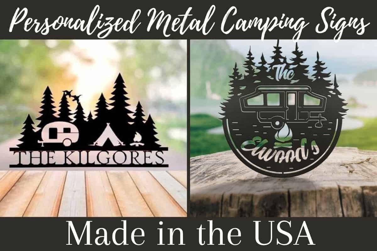 personalized metal camping signs
